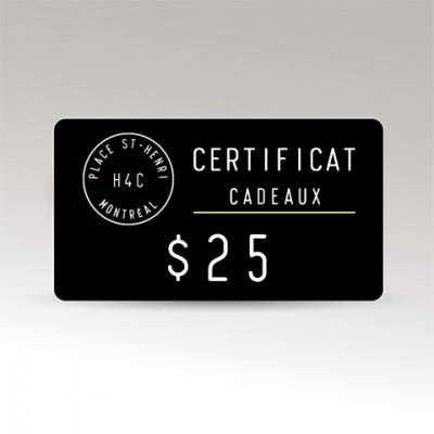 Restaurant le H4C 25 certificat cadeaux