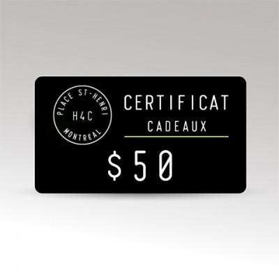 Certificat Cadeaux $50